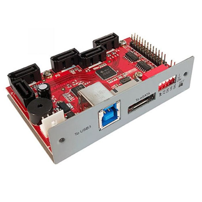 eSATA and USB3.0 host to 5x SATA feature hardware RAID//JBoD Controller